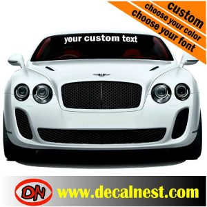 windshield custon text decal
